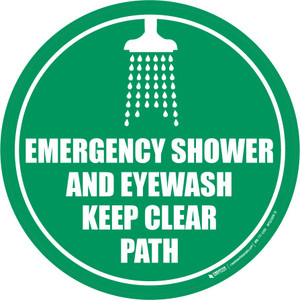 Emergency Shower and Eyewash - Keep Clear Path - Floor Sign