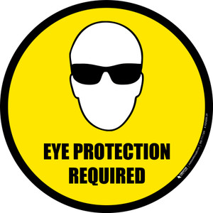 Eye Protection Required (Circle with Graphic) - Floor Sign