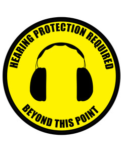Hearing Protection Required Beyond This Point (Circle with Graphic) - Floor Sign