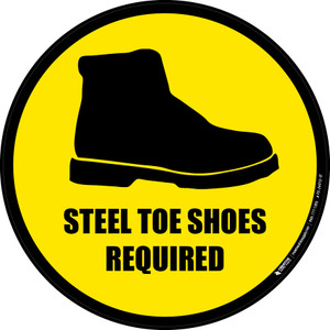Steel Toe Shoes Required (Circle with Graphic) - Floor Sign