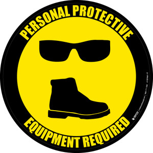 PPE Required - Eyeware and Shoes - Floor Sign