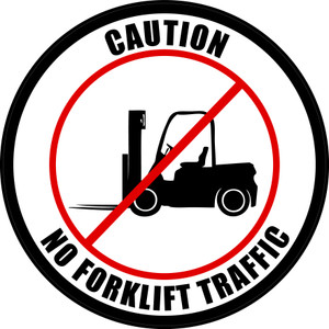 Caution: No Forklift Traffic (Circle in White) - Floor Sign