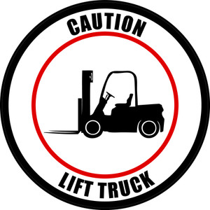 Caution: Lift Truck (Circle in White) - Floor Sign