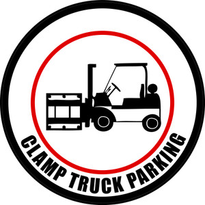 Clamp Truck Parking (Circle in White) - Floor Sign