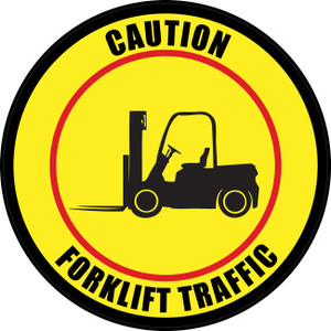 Caution: Forklift Traffic (Circle in Yellow/Red) - Floor Sign