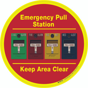 Emergency Pull Station - Keep Area Clear (Multiple Alarms) - Floor Sign