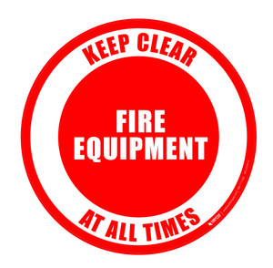 Fire Equipment - Keep Clear at All Times - Floor Sign