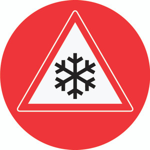 Ice Hazard (Red Circle) - Floor Sign