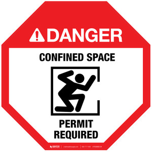 Danger: Confined Space - Permit Required (With Icon) - Floor Sign