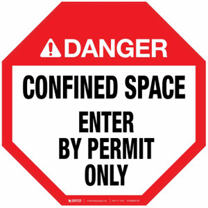 Danger: Confined Space - Enter by Permit Only - Floor Sign