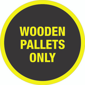 Wooden Pallets (Black/Yellow) - Floor Sign