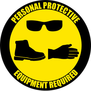 PPE Required - Eyeware, Shoes, Gloves - Floor Sign