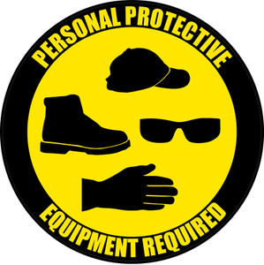 PPE Required - Hat, Shoes, Eyeware, Gloves - Floor Sign