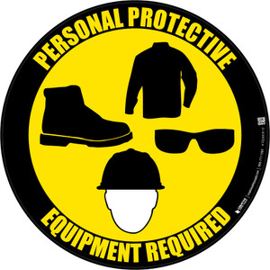 PPE Required - Long sleeves, Shoes, Eyeware, Hard Hat - Floor Sign