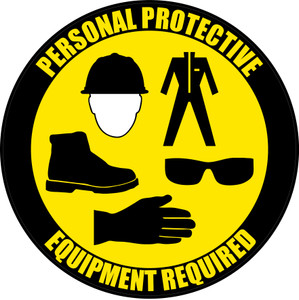 PPE Required - Hard Hat, Protective Suit, Shoes, Eyeware, Gloves - Floor Sign