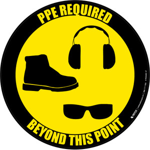 PPE Required Beyond This Point - Shoes, Hearing Protection, Eyeware - Floor Sign