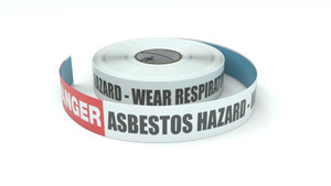 Danger: Asbestos Hazard - Wear Respiratory Protection - Inline Printed Floor Marking Tape