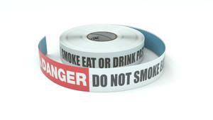 Danger: Do Not Smoke Eat Or Drink Past This Line - Inline Printed Floor Marking Tape
