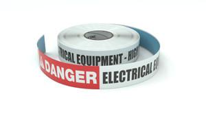 Danger: Electrical Equipment - High Voltage - Inline Printed Floor Marking Tape