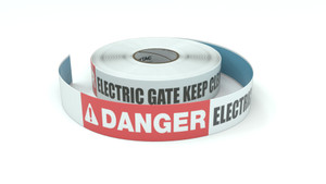 Danger: Electric Gate Keep Clear - Inline Printed Floor Marking Tape