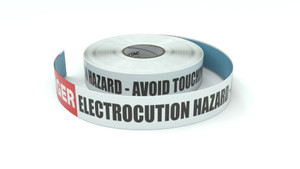 Danger: Electrocution Hazard - Avoid Touching Ground Straps - Inline Printed Floor Marking Tape