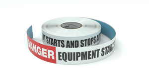 Danger: Equipment Starts And Stops Automatically - Inline Printed Floor Marking Tape
