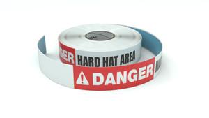 Danger: Hard Hat Area - Inline Printed Floor Marking Tape