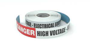 Danger: High Voltage - Electrical Equipment Ahead - Inline Printed Floor Marking Tape