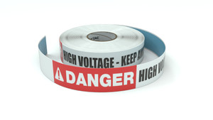 Danger: High Voltage - Keep Away - Inline Printed Floor Marking Tape