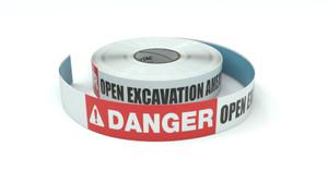 Danger: Open Excavation Ahead - Inline Printed Floor Marking Tape