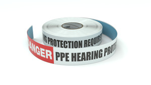 Danger: PPE Hearing Protection Required In This Area - Inline Printed Floor Marking Tape