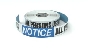 Notice: All Persons Use Pool At Own Risk - Inline Printed Floor Marking Tape