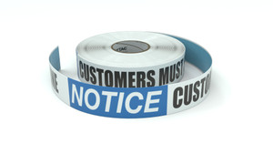 Notice: Customers Must Stop At This Line - Inline Printed Floor Marking Tape