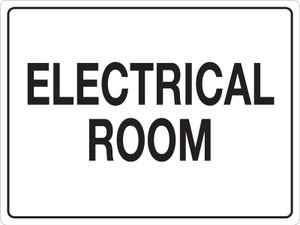 Electrical Room (White Rectangle) - Floor Sign