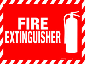 Fire Extinguisher (Rectangle with Hazard Lines) - Floor Sign