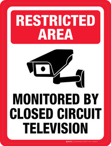Restricted Area: Monitored by Closed Circuit Television - Floor Sign
