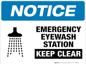 Notice: Emergency Eyewash Station - Keep Clear - Floor Sign