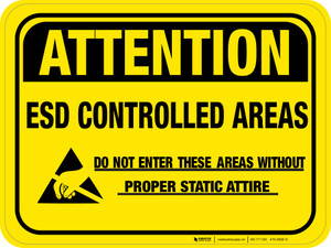 Attention: ESD Controlled Area (Yellow Rectangle) - Floor Sign