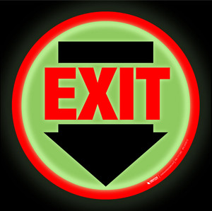 Glow: Red Exit Arrow Down (Circle) - Floor Sign