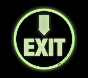 Glow: Exit Arrow Down (Black Circle) - Floor Sign