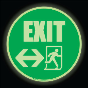 Glow: Emergency Exit Arrows Both Ways (Circle) - Floor Sign