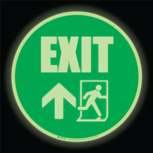 Glow: Emergency Exit Arrows Up (Circle) - Floor Sign