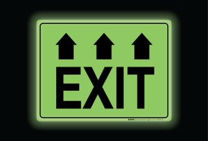 Glow: Exit Arrows Up (Rectangle) - Floor Sign