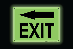 Glow: Exit Arrow Left (Rectangle) - Floor Sign