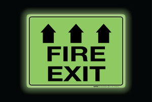 Glow: Fire Exit Arrows Up (Rectangle) - Floor Sign