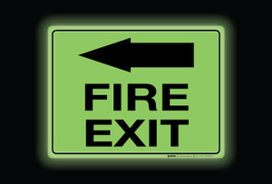 Glow: Fire Exit Arrow Left (Rectangle) - Floor Sign