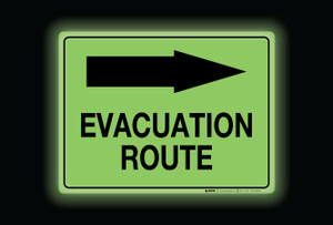 Glow: Evacuation Route Arrow Right (Rectangle) - Floor Sign