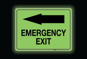 Glow: Emergency Exit Arrow Left (Rectangle) - Floor Sign