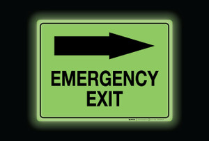 Glow: Emergency Exit Arrow Right (Rectangle) - Floor Sign