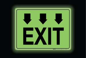 Glow: Exit Arrows Down (Rectangle) - Floor Sign